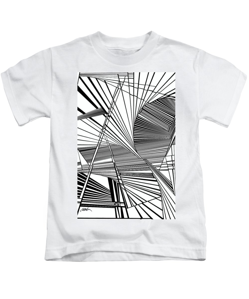 Dynamic Black And White Kids T-Shirt featuring the painting Compassion by Douglas Christian Larsen