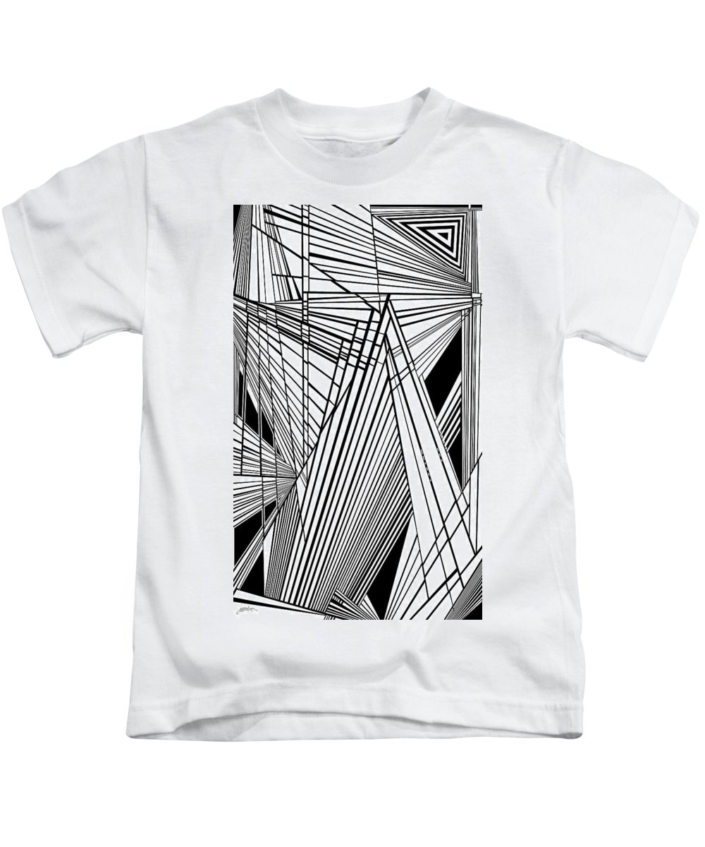 Dynamic Black And White Kids T-Shirt featuring the painting Compassion West Two by Douglas Christian Larsen