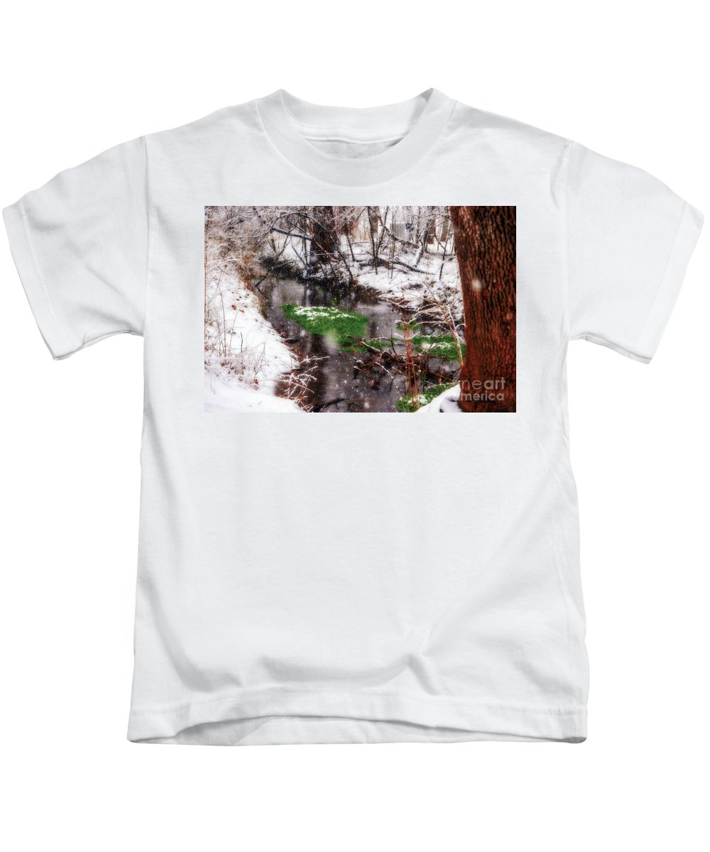 Landscape Kids T-Shirt featuring the photograph Confused Spring Or Winter by Peggy Franz