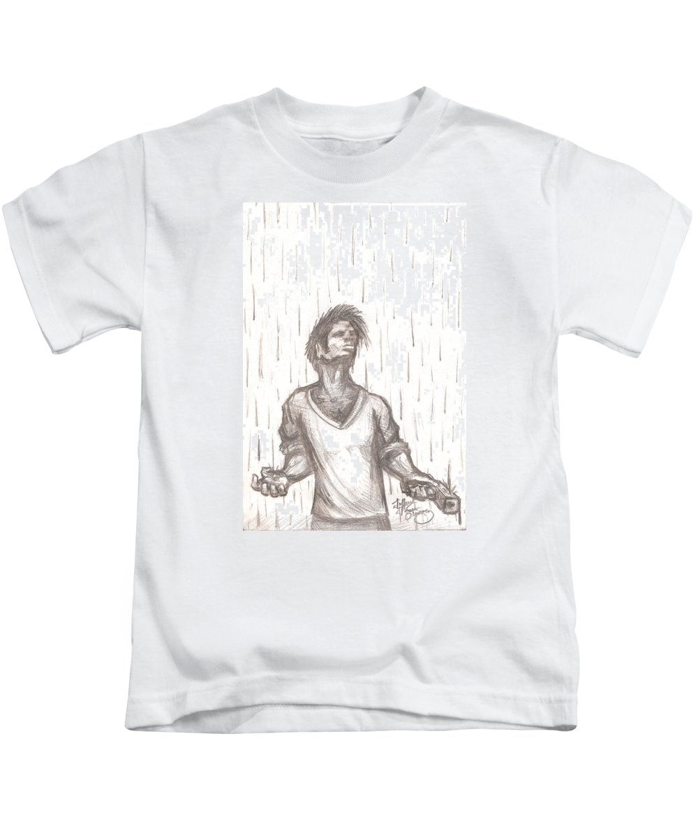 Man Kids T-Shirt featuring the drawing Consequence by Jeffrey Oleniacz