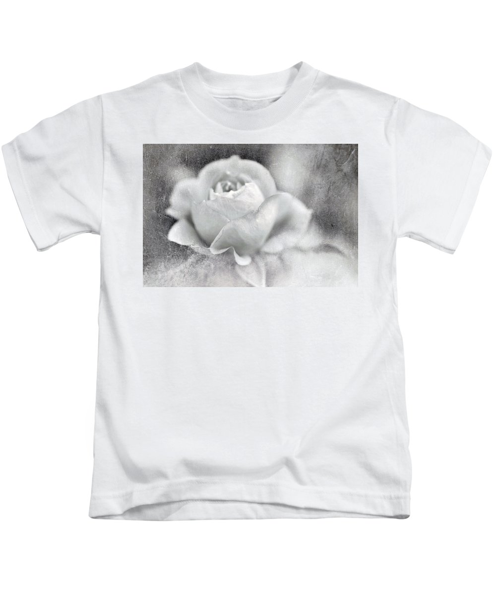 Black And White Kids T-Shirt featuring the photograph Cool Rose by Annie Snel