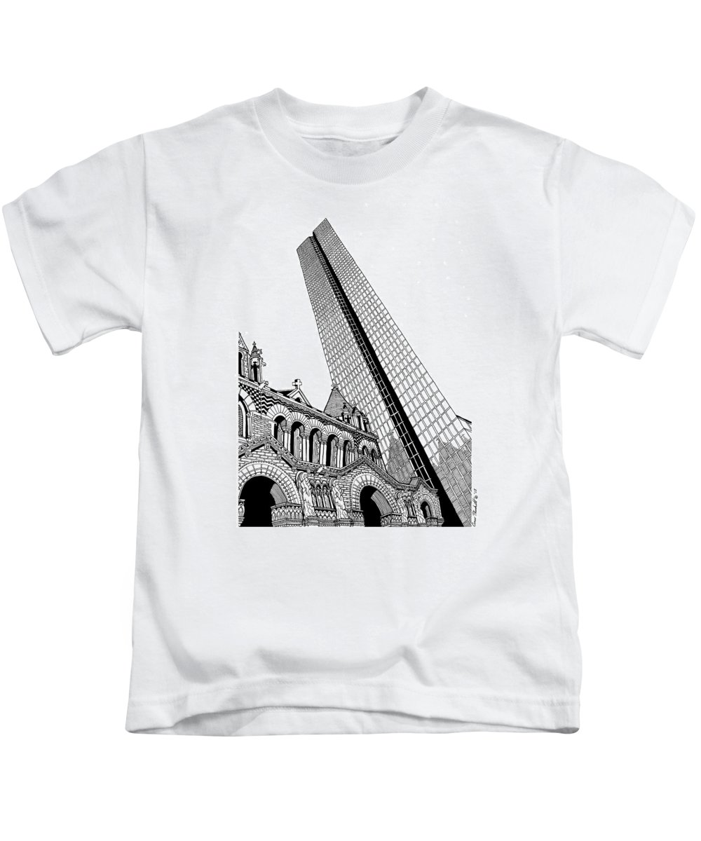 Drawing Kids T-Shirt featuring the drawing Copley Square - Boston by Conor Plunkett