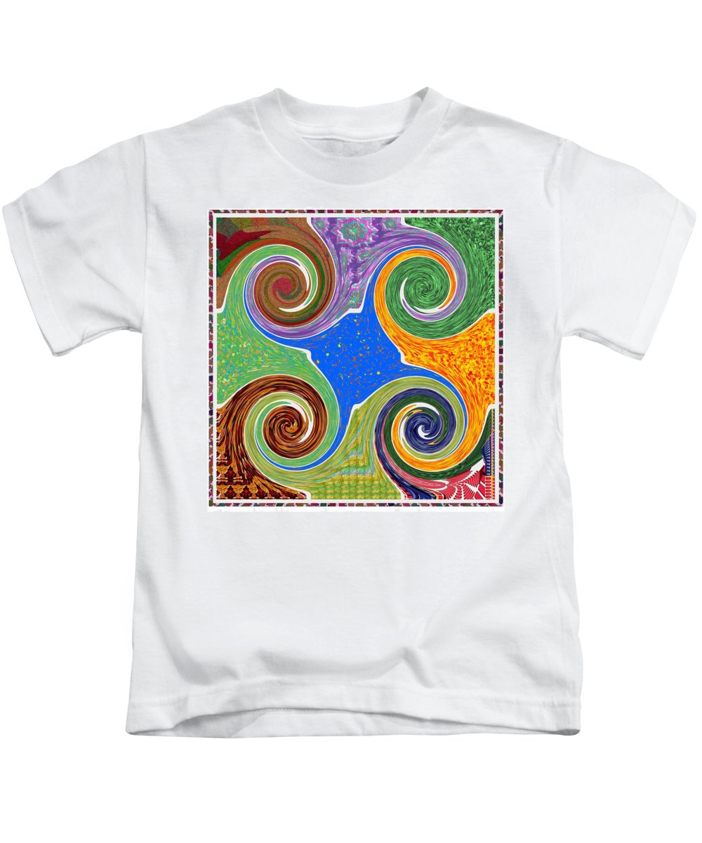 Abstract Kids T-Shirt featuring the mixed media Cosmic Healing Energy Source Imagination Connection Tuning Faith Belief Mandala Chakra Reiki Karuna by Navin Joshi