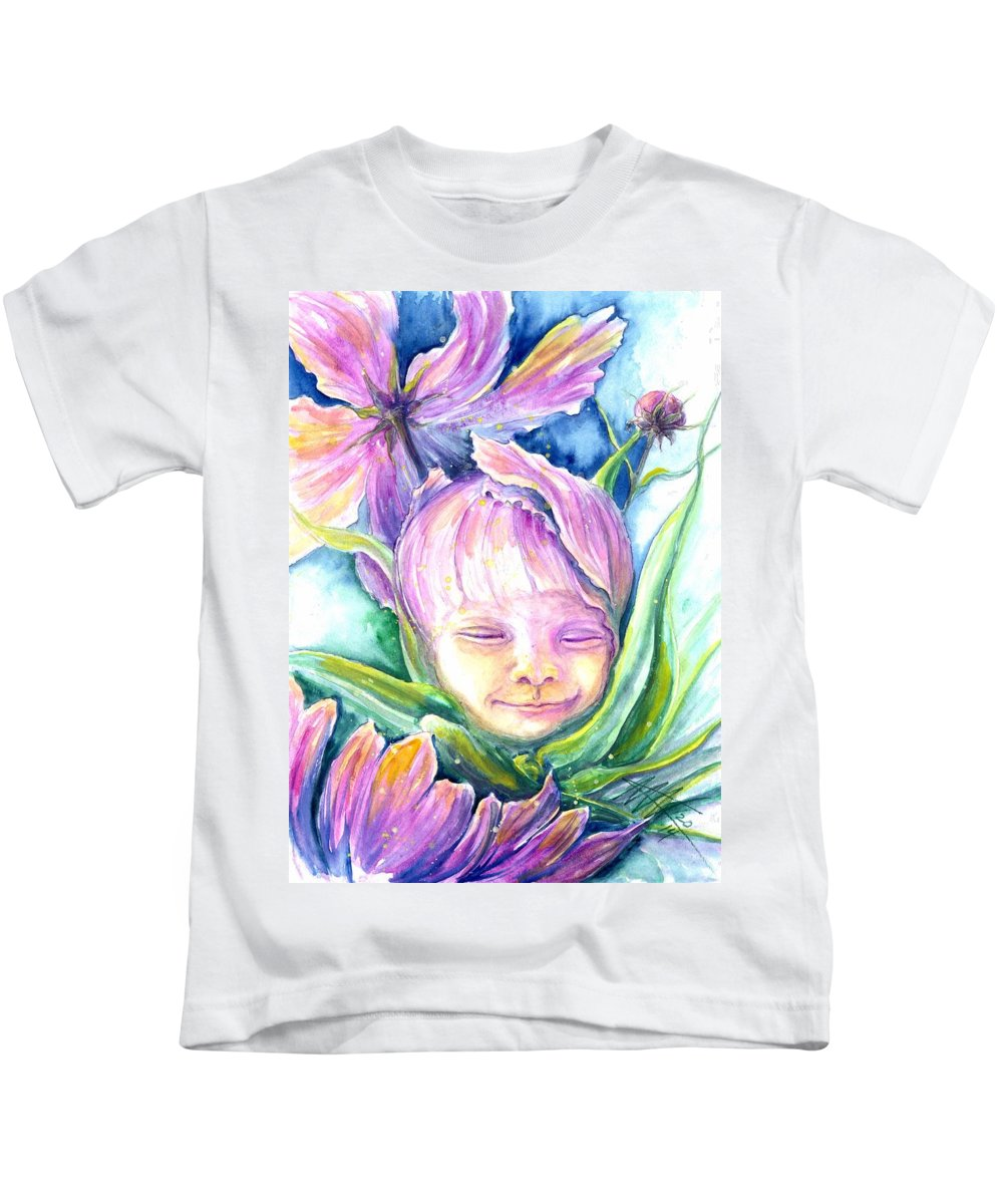 Baby Portraits Kids T-Shirt featuring the painting Cosmos Bud by Ashley Kujan