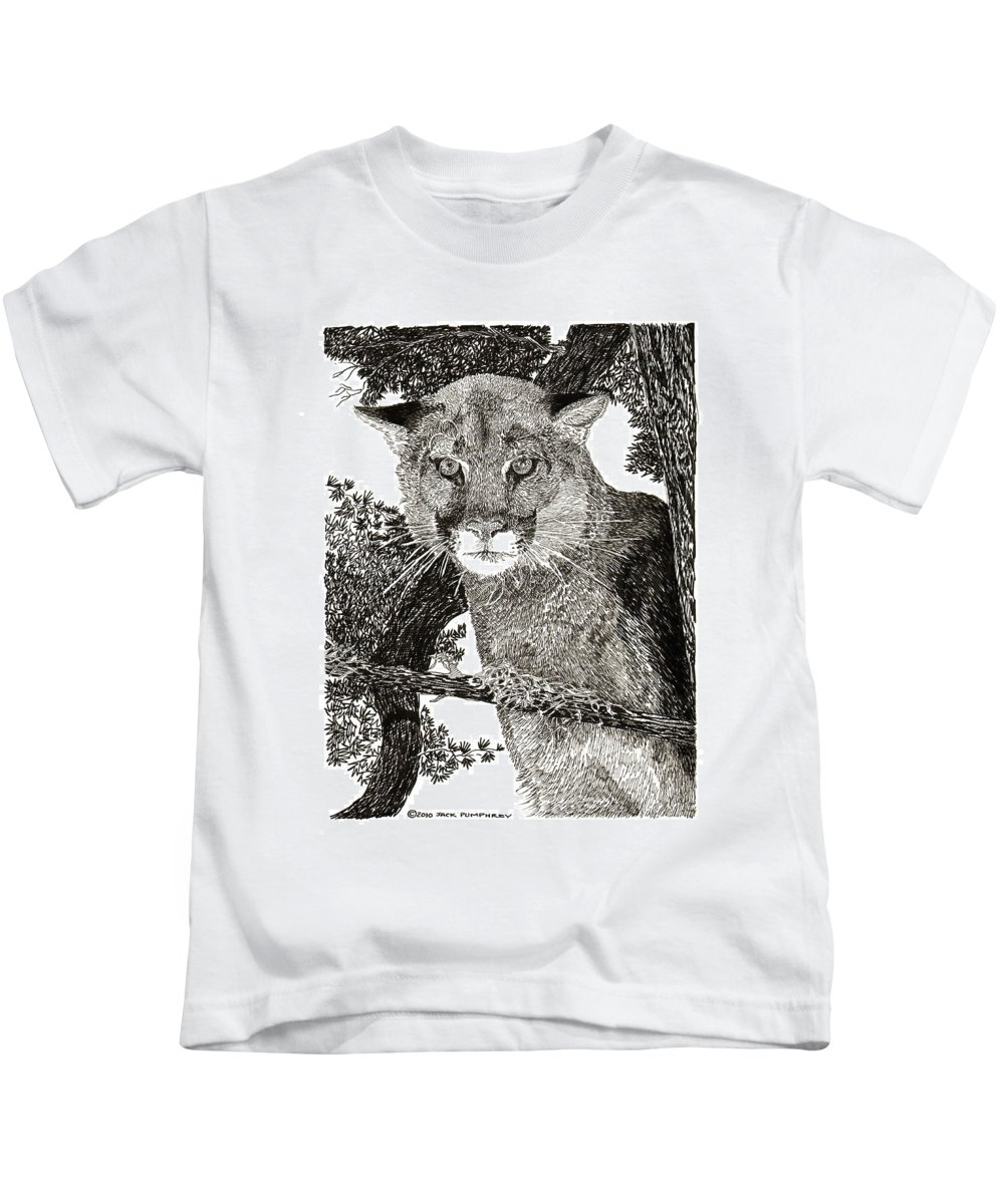 Framed Art Of Wild Animals. Framed Pen And Ink Art Of Mountain Lions. Framed Art Of Cougars.animal Art. Inked Animal Art. Art In The Wild. Kids T-Shirt featuring the drawing Cougar From Colorado by Jack Pumphrey