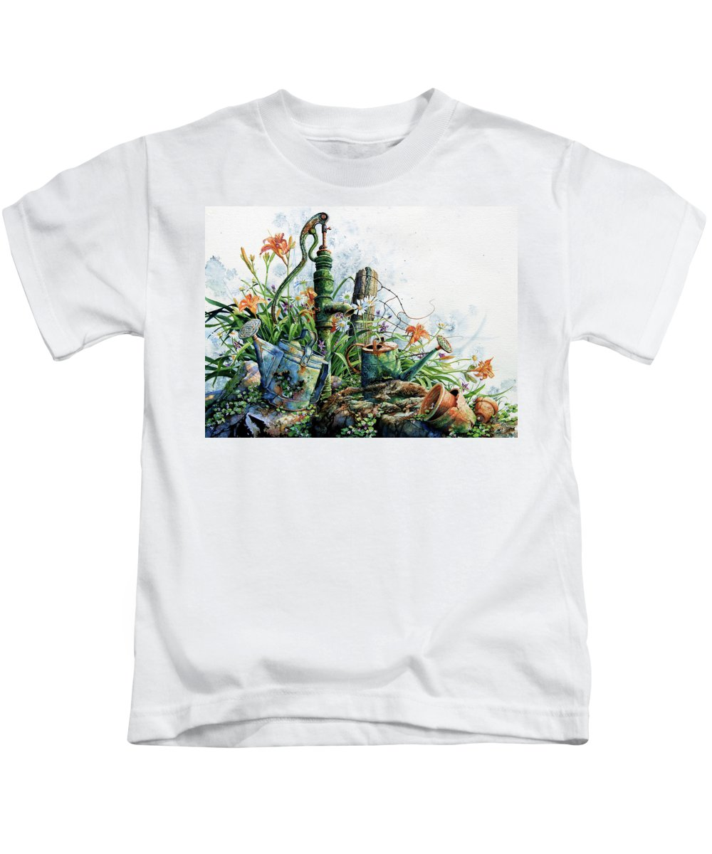 Garden Painting Kids T-Shirt featuring the painting Country Charm by Hanne Lore Koehler