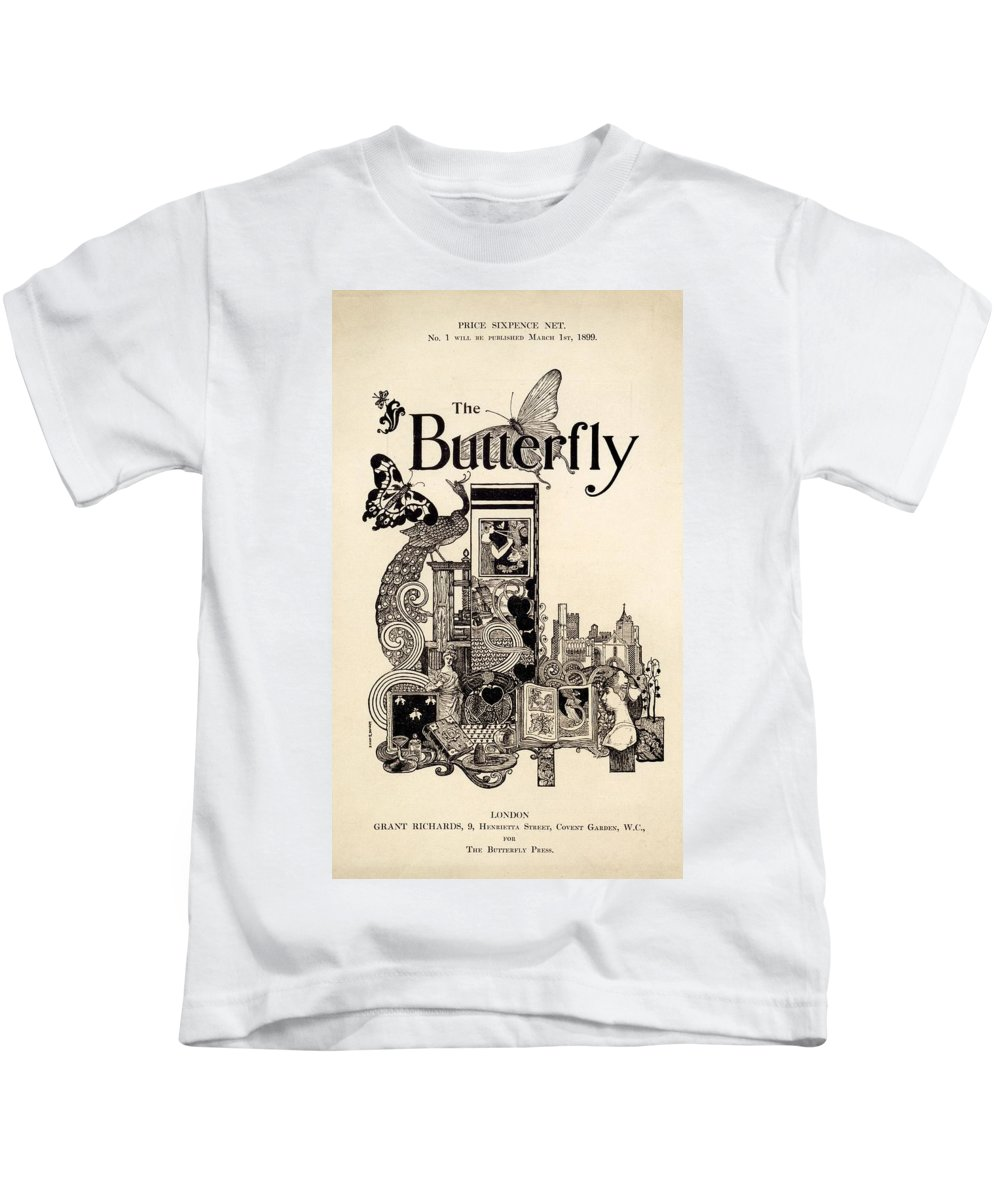 Front Cover Kids T-Shirt featuring the drawing Cover Of The Butterfly Magazine by English School