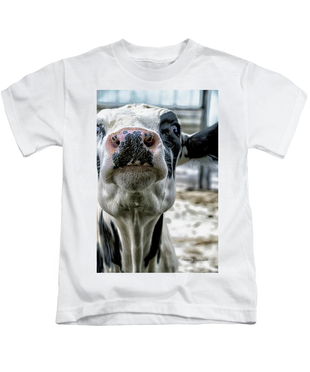 Animal Kids T-Shirt featuring the photograph Cow Kiss Me by Thomas Woolworth