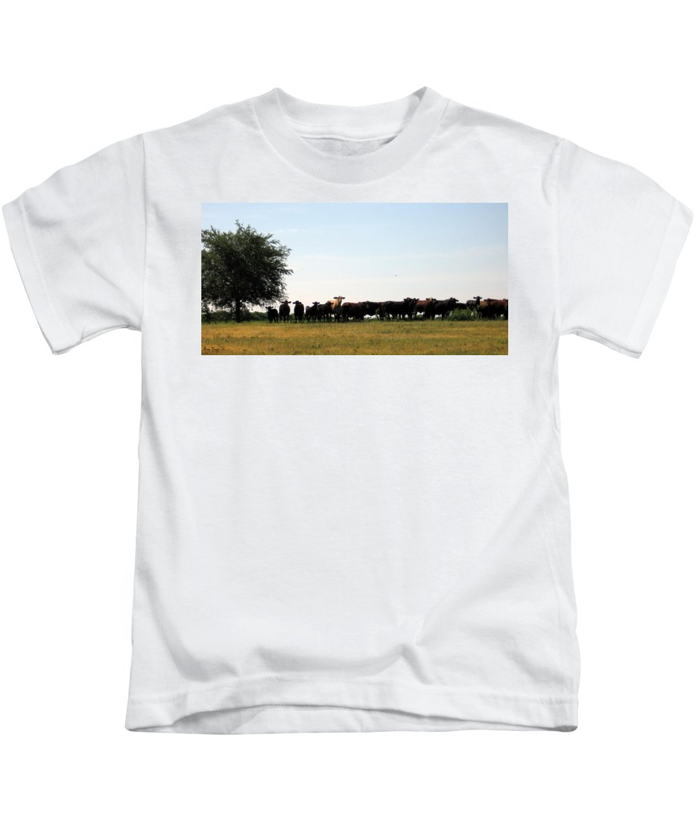 Cattle Kids T-Shirt featuring the photograph Cows by Amy Hosp