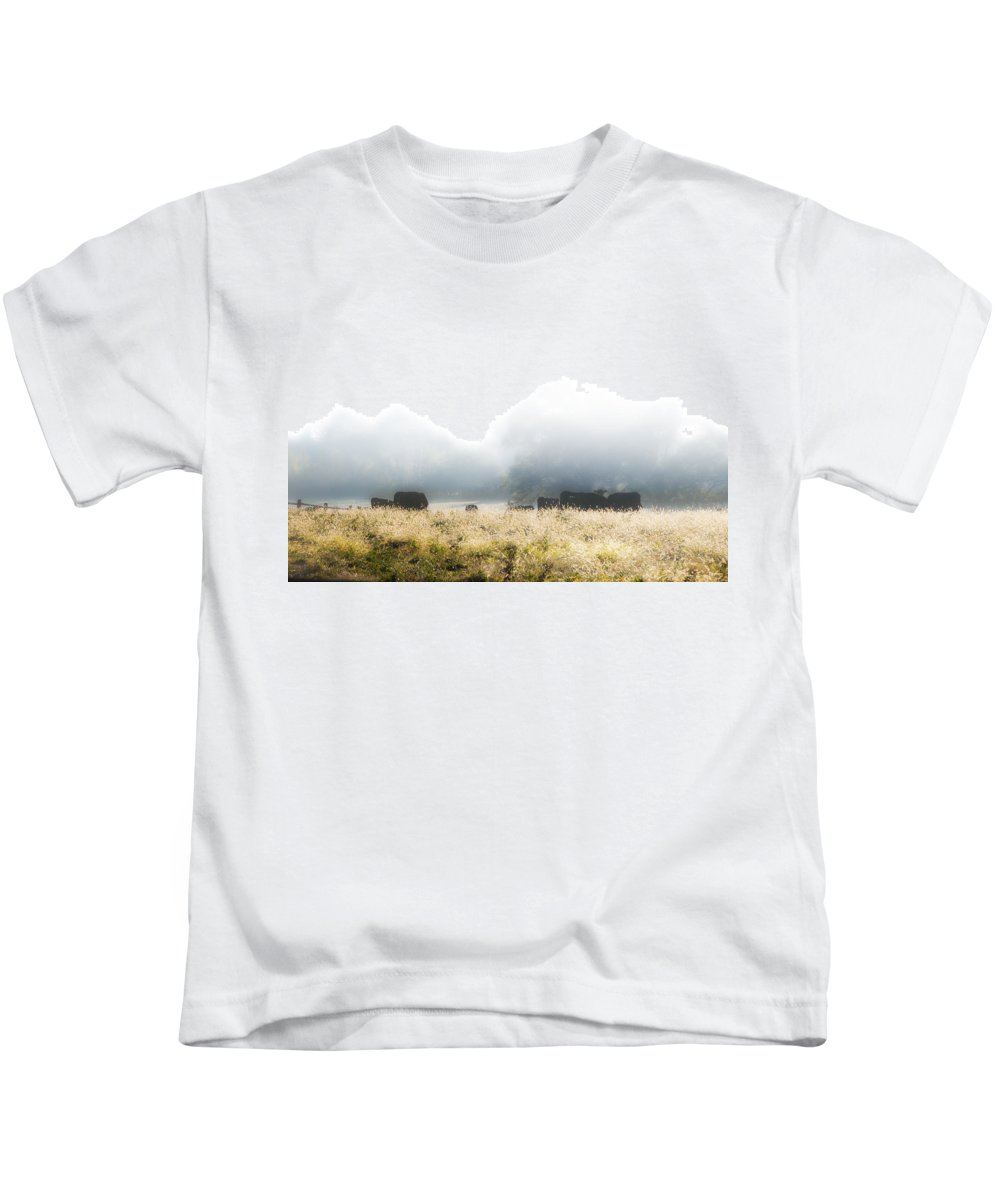 Cows Kids T-Shirt featuring the photograph Cows In A Foggy Field by Bill Cannon