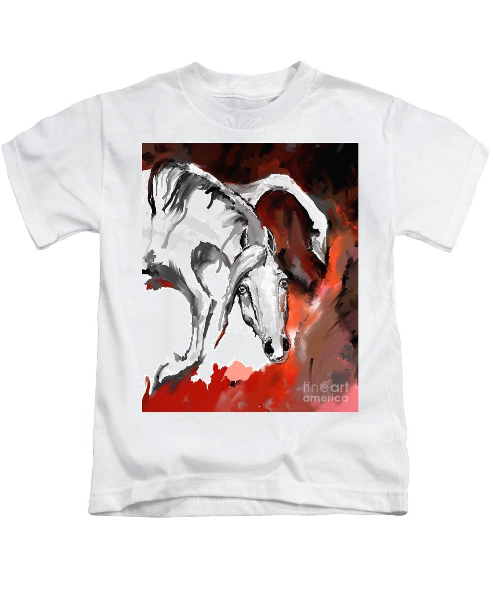 Horse Kids T-Shirt featuring the digital art Crazy Horse 7 by Angel Ciesniarska