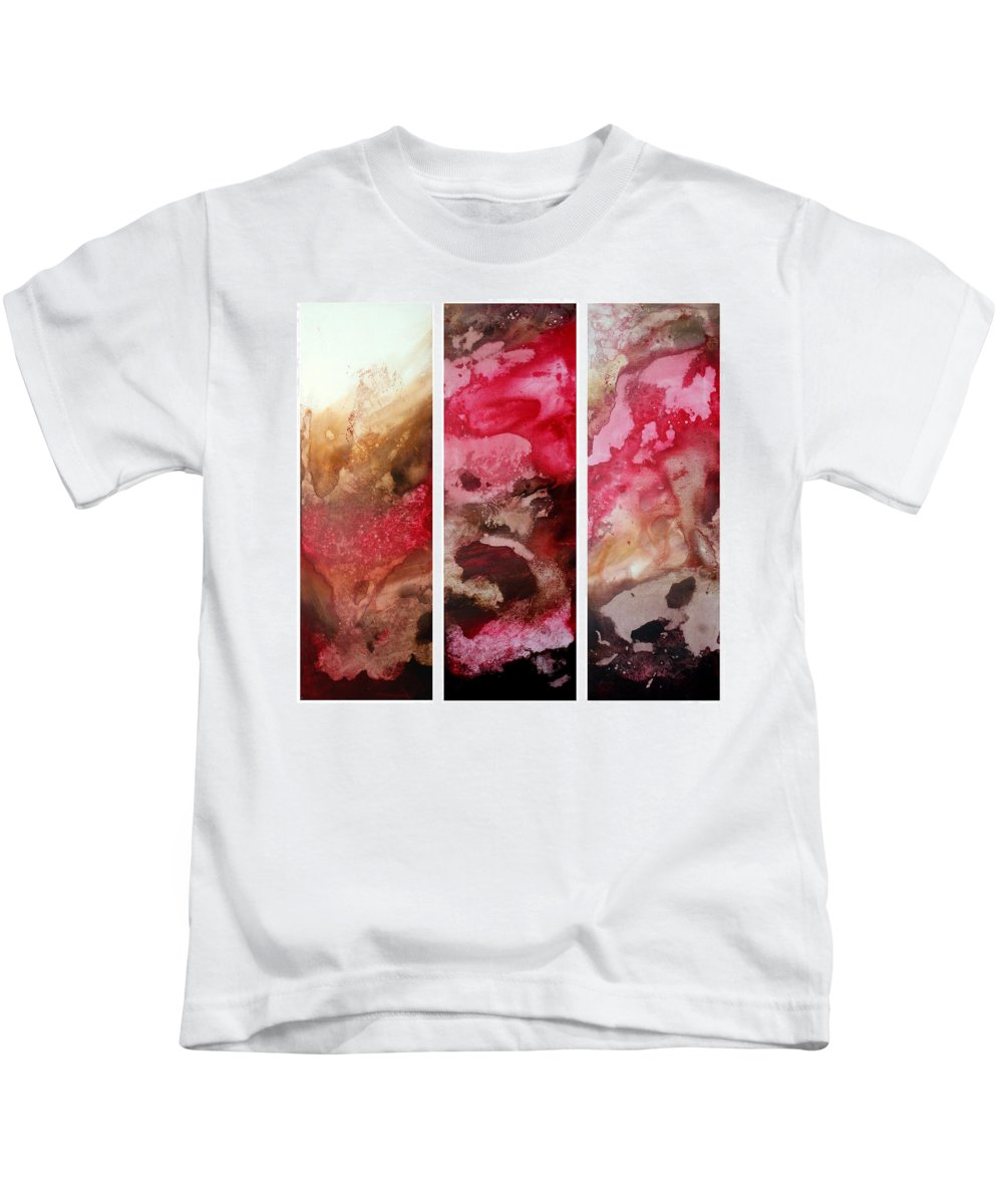 Abstract Kids T-Shirt featuring the painting Crimson Cream Original Painting Madart by Megan Duncanson