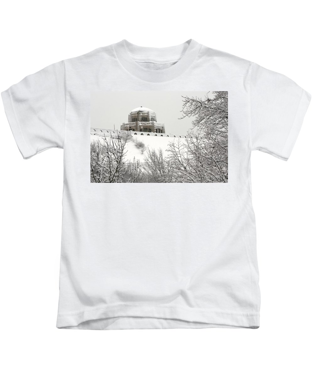Crown Point From Below Kids T-Shirt featuring the photograph Crown Point From Below by Wes and Dotty Weber