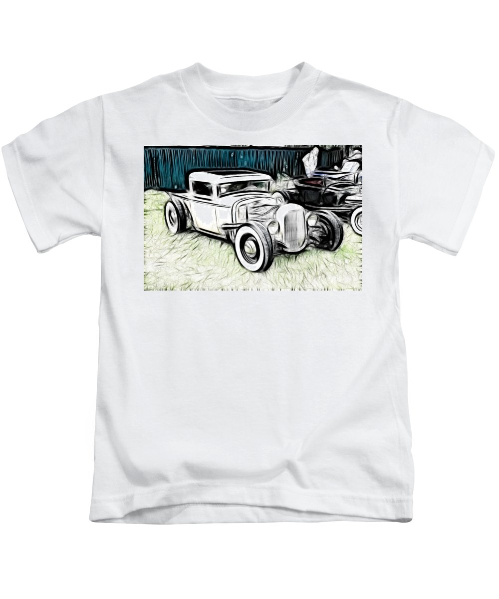 32 Ford Pickup Kids T-Shirt featuring the photograph Custom Hot Rod Pickup by Steve McKinzie