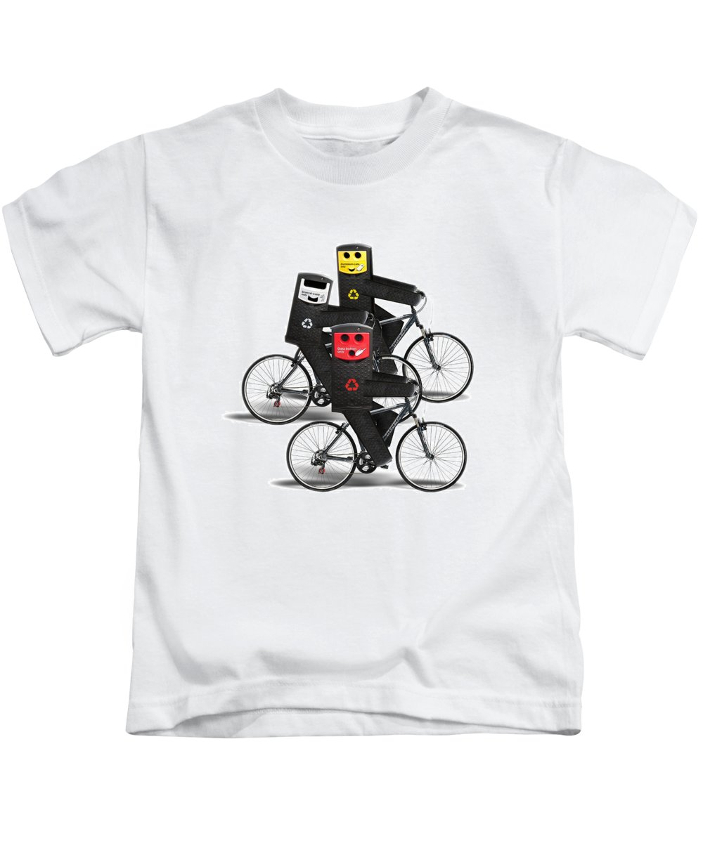 Recycle Kids T-Shirt featuring the digital art Cycling Recycle Bins by Gravityx9 Designs