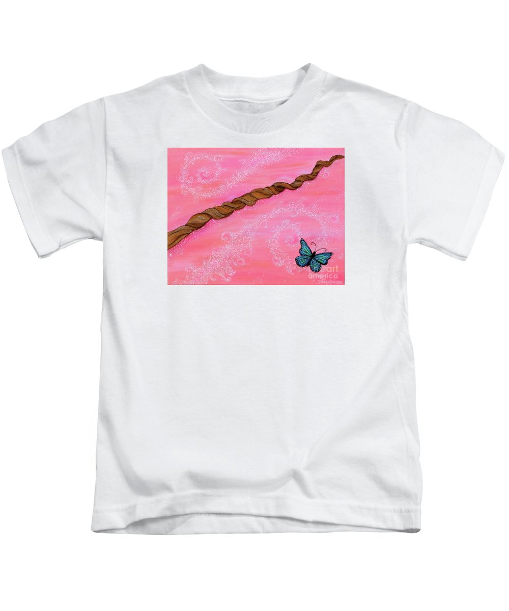 Cypress Paintings Kids T-Shirt featuring the painting Cypress Wand by Deborha Kerr
