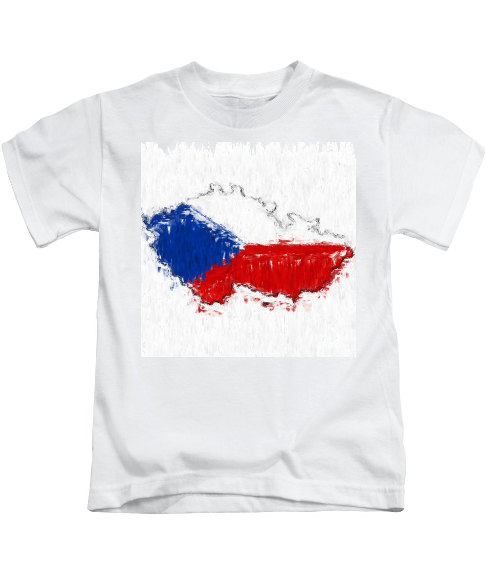 Czech Kids T-Shirt featuring the photograph Czech Republic Painted Flag Map by Antony McAulay