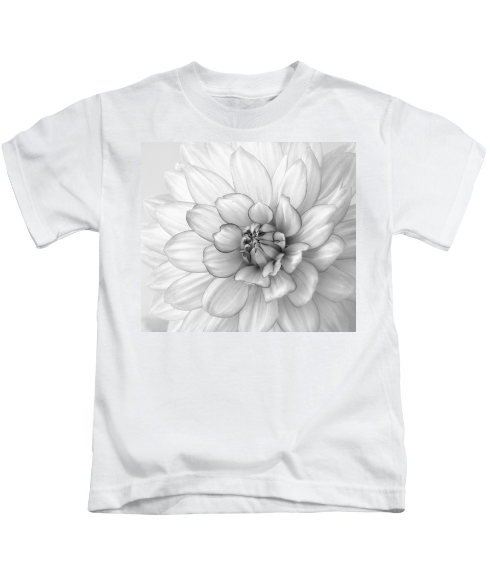 Dahlia Kids T-Shirt featuring the photograph Dahlia Flower Black And White by Kim Hojnacki