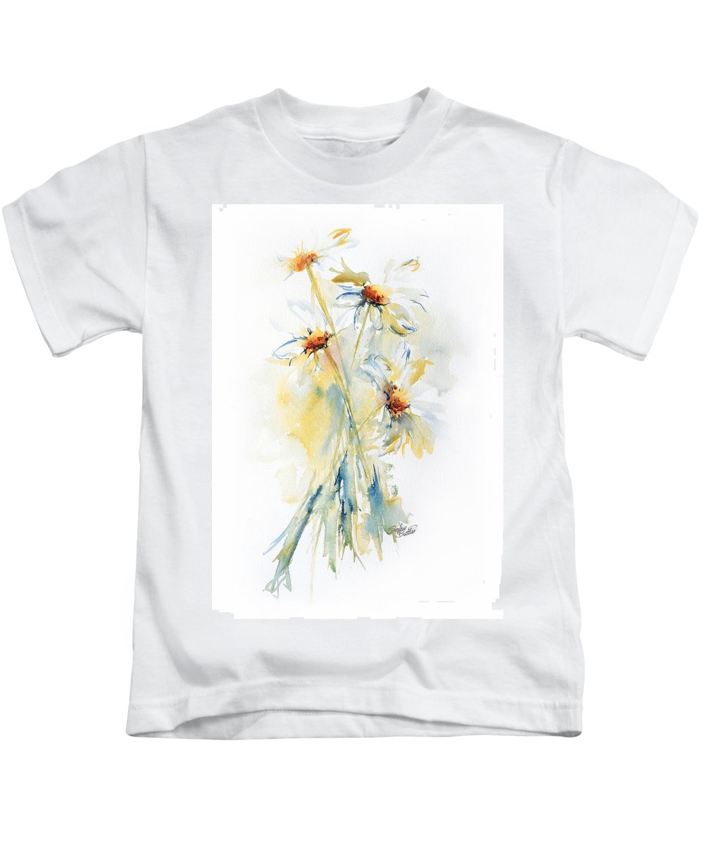 Stephie Kids T-Shirt featuring the painting Daisy Bouquet by Stephie Butler
