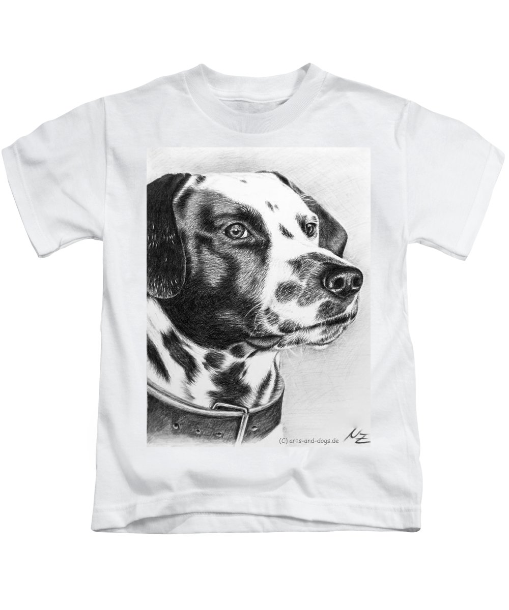 Dog Kids T-Shirt featuring the drawing Dalmatian Portrait by Nicole Zeug