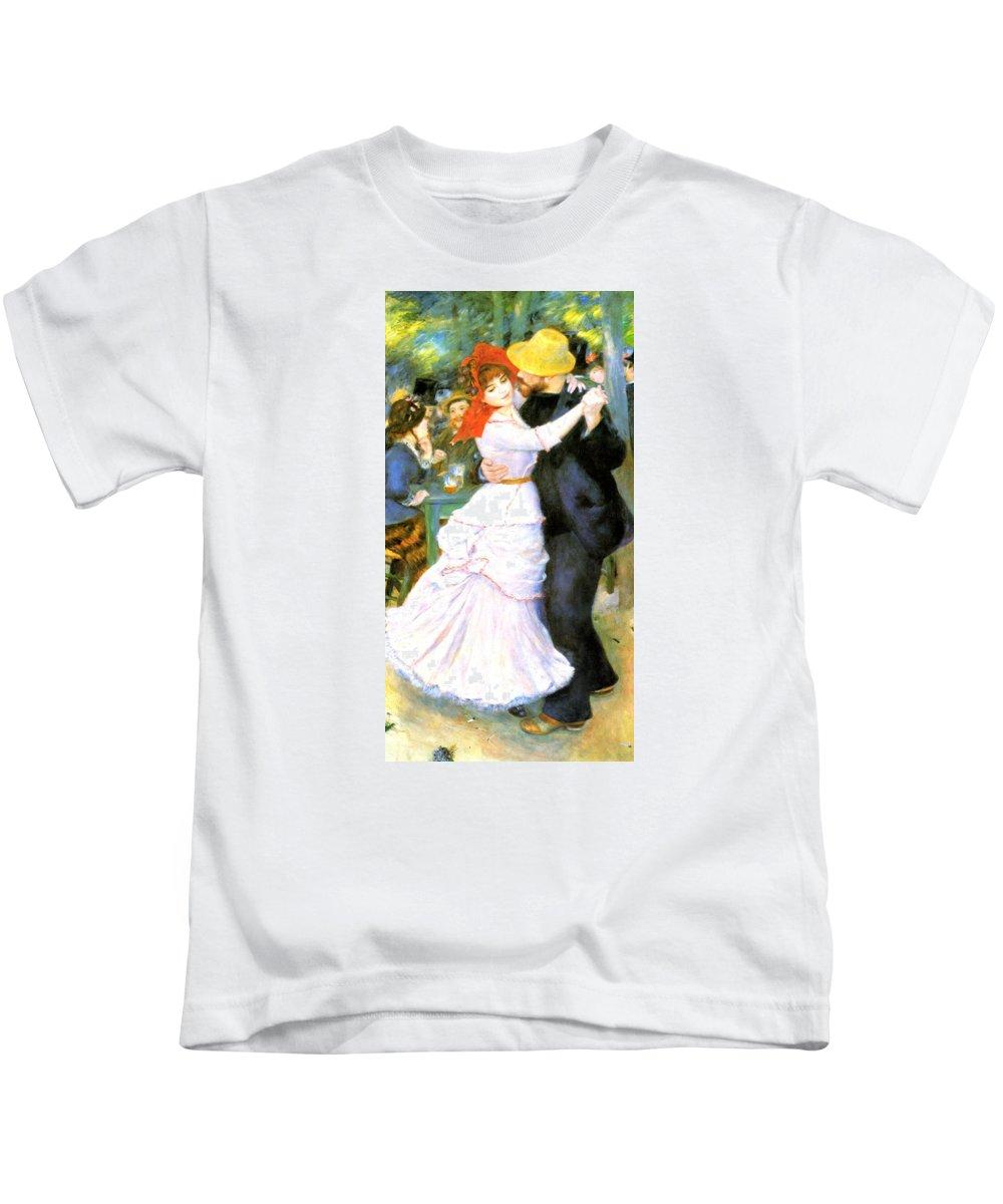 Pierre-auguste Renoir Kids T-Shirt featuring the digital art Dance At Bougival by Pierre Auguste Renoir
