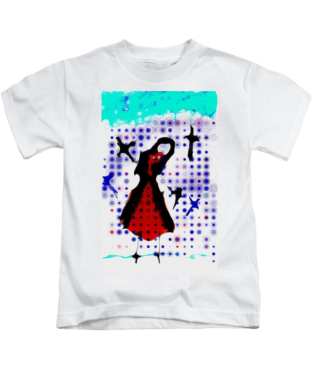 Girl Kids T-Shirt featuring the photograph Dancing With The Birds by Jessica Shelton