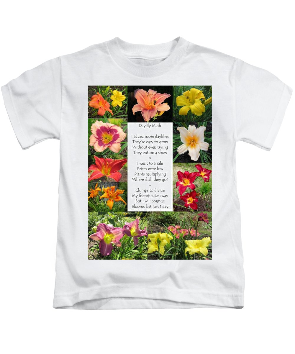 Daylily Math Poem Kids T-Shirt featuring the photograph Daylily Math by MTBobbins Photography