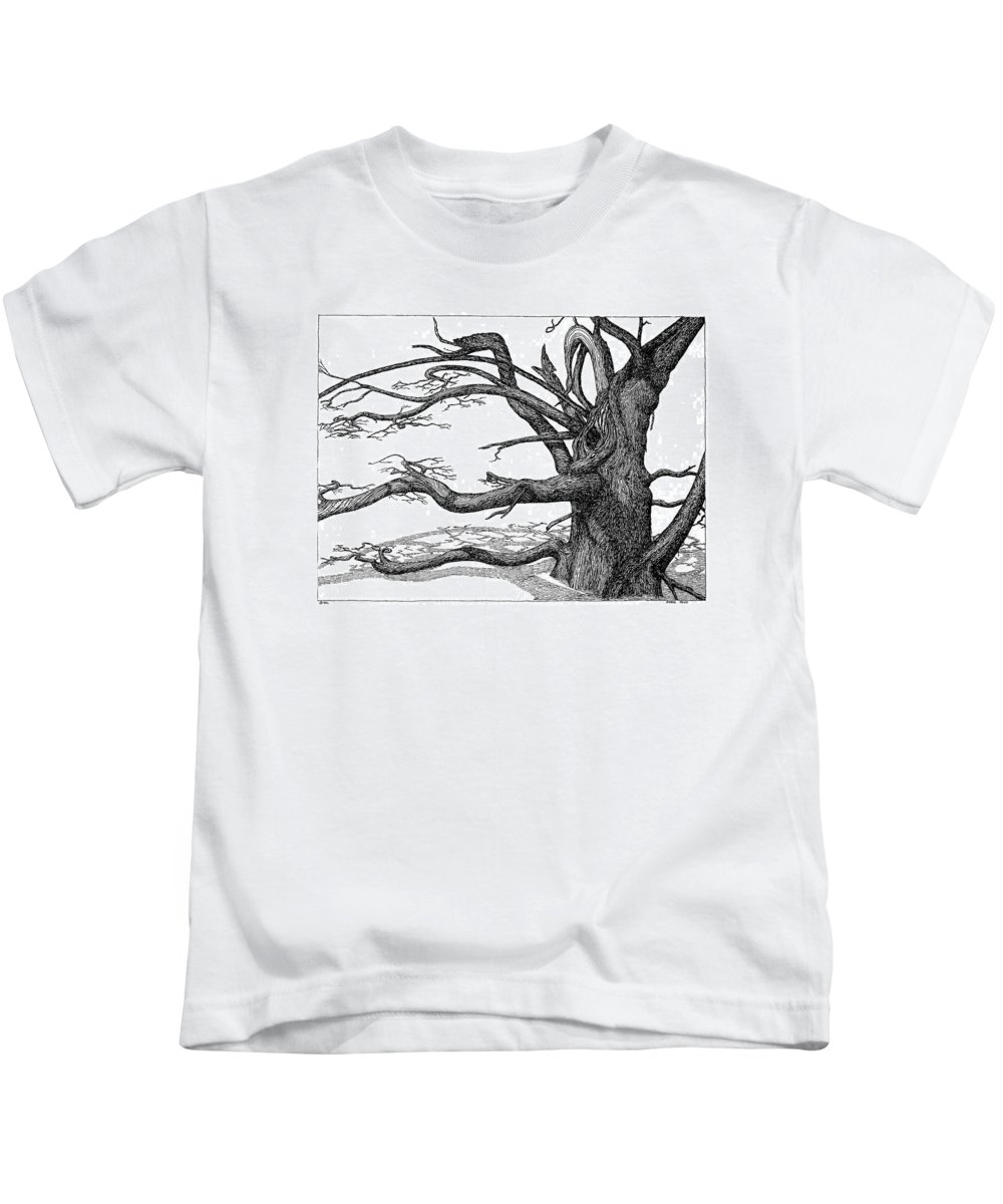 Nature Kids T-Shirt featuring the drawing Dead Tree by Daniel Reed
