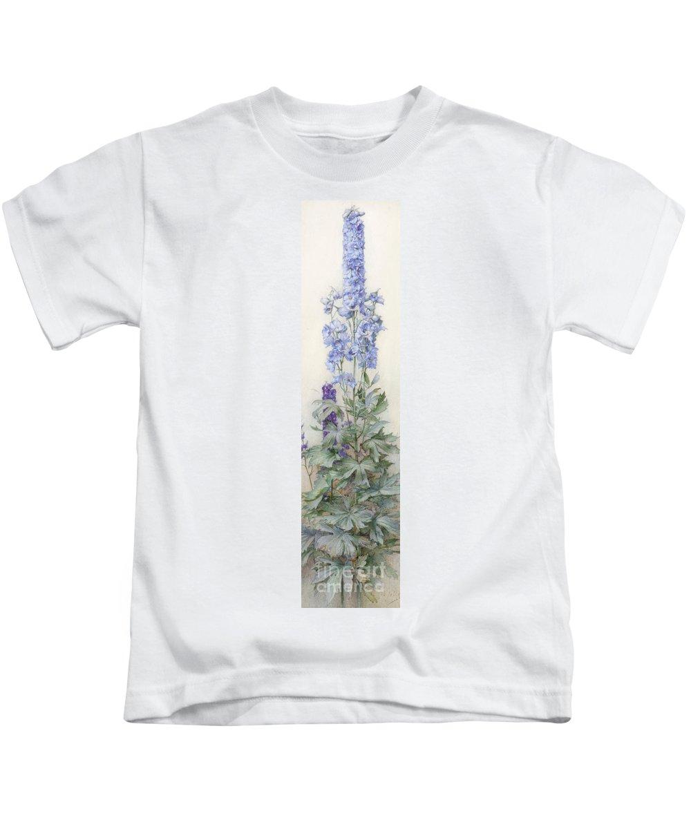 James Valentine Jelley Kids T-Shirt featuring the painting Delphiniums by James Valentine Jelley