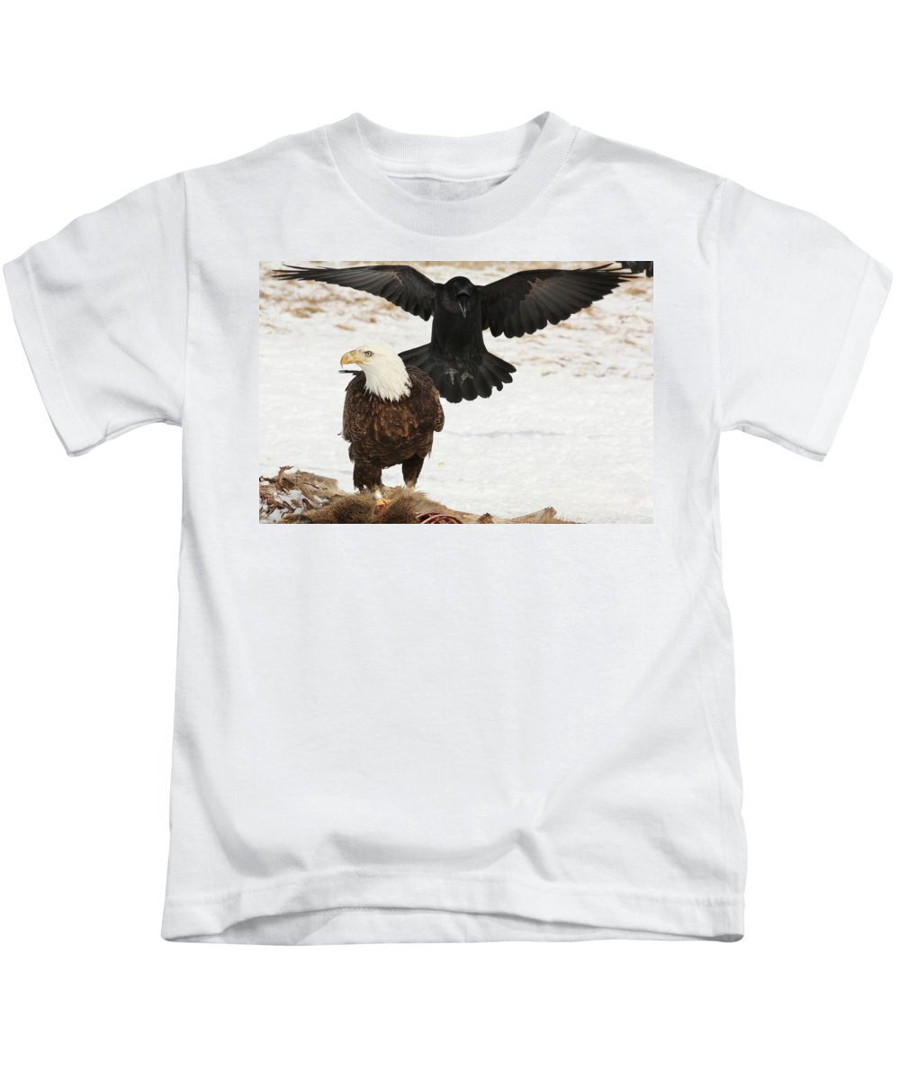 Bald Eagle Kids T-Shirt featuring the photograph Descending Shadow by Teresa McGill