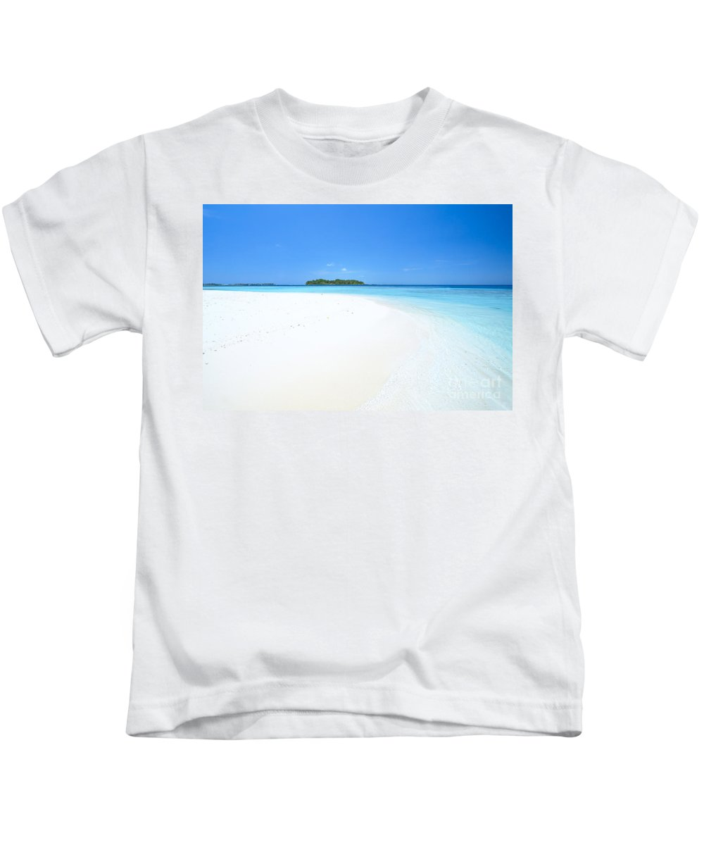 Tropical Kids T-Shirt featuring the photograph Deserted Tropical Beach And Island In The Maldives by Matteo Colombo