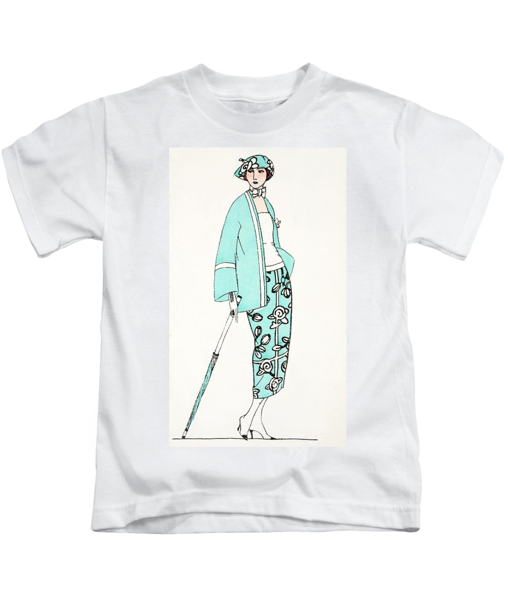 Kids T-Shirt featuring the painting Design For A Day Dress C 1919 by French School
