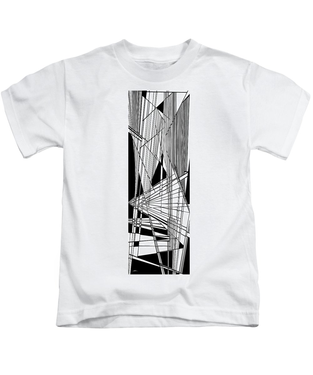 Dynamic Black And White Kids T-Shirt featuring the painting Diatribe by Douglas Christian Larsen