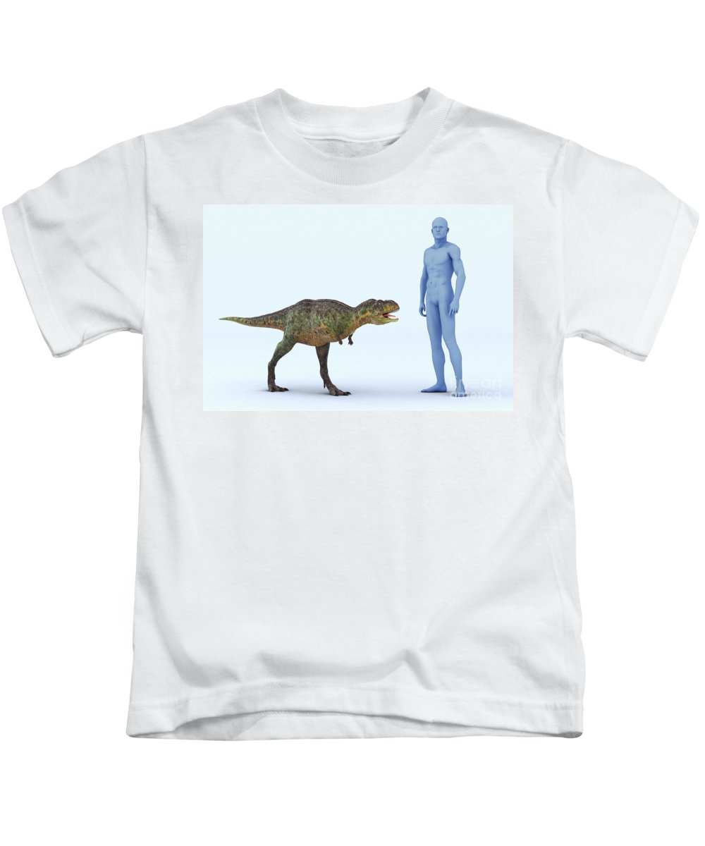 Human Body Kids T-Shirt featuring the photograph Dinosaur Aucasaurus by Science Picture Co