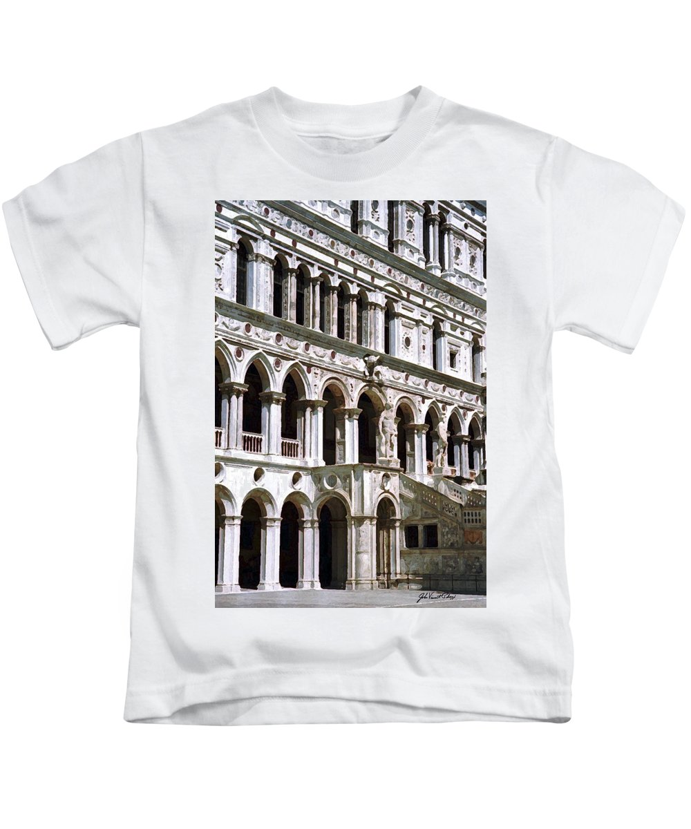 Doge Palace Kids T-Shirt featuring the digital art Doge Palace Venice 2 by John Vincent Palozzi