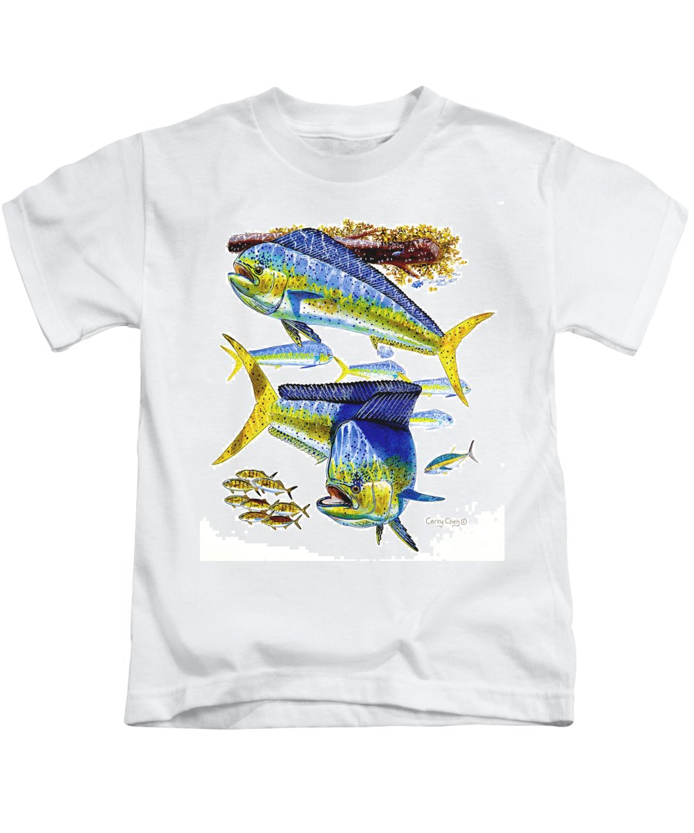 Dolphin Kids T-Shirt featuring the painting Dolphin In Weedline by Carey Chen