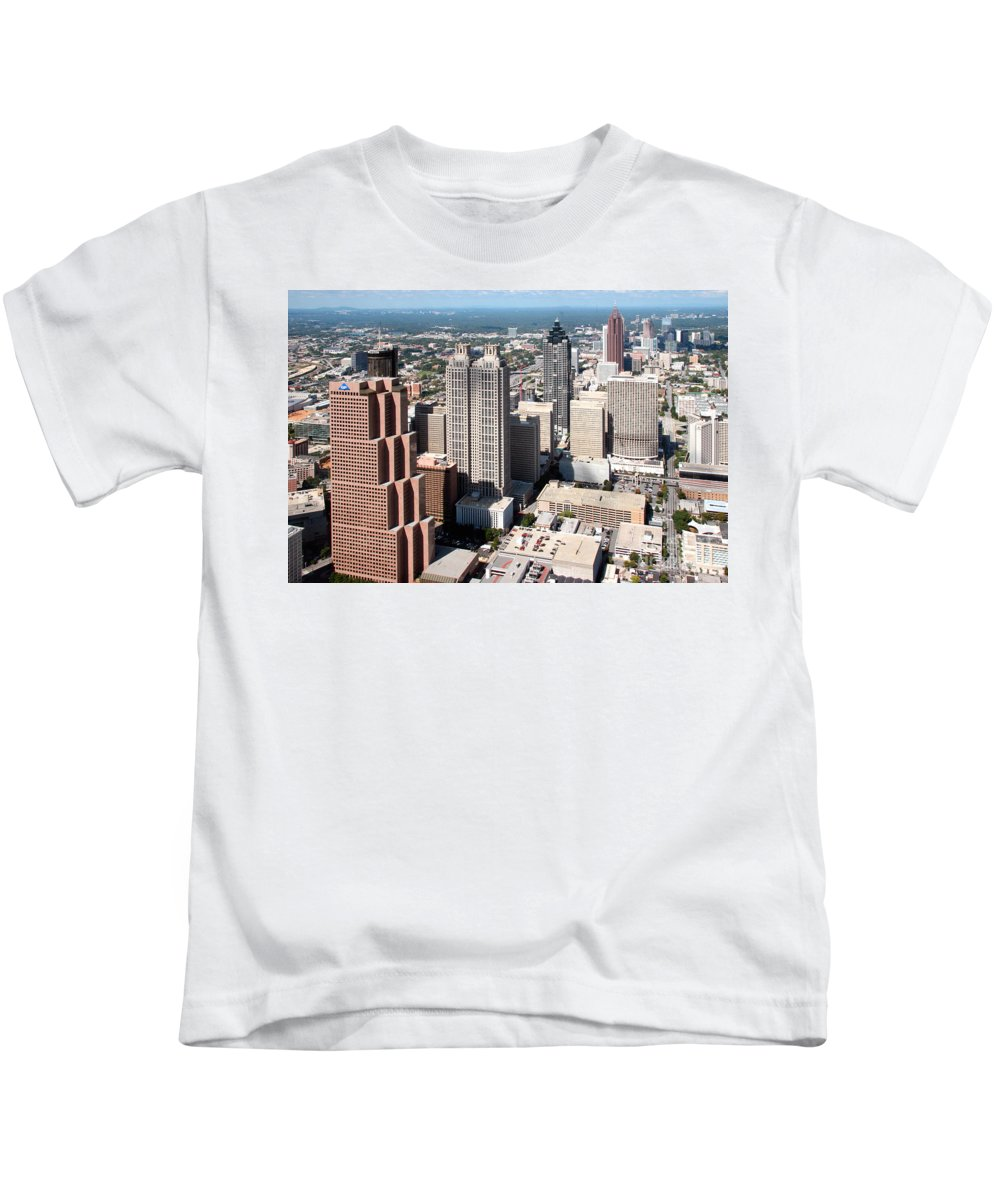 Aerial Kids T-Shirt featuring the photograph Downtown Atlanta by Bill Cobb