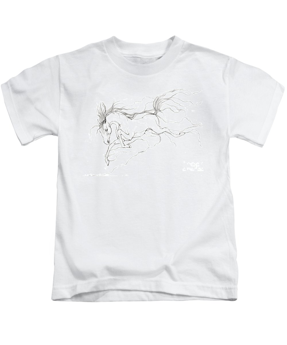 Horse Kids T-Shirt featuring the drawing Dream Horse by Angel Ciesniarska