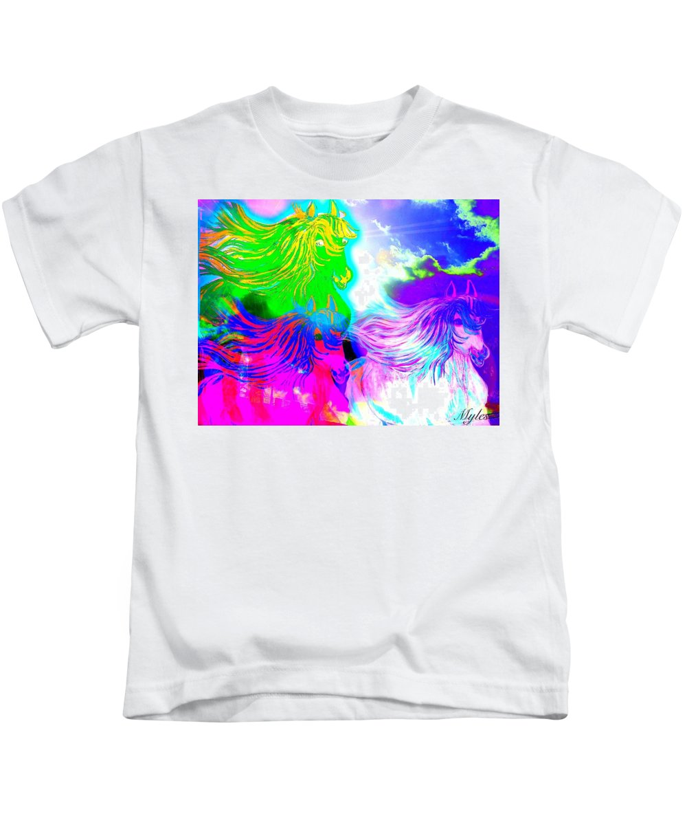 Horses Kids T-Shirt featuring the painting Dreaming Of Rainbow Horses by Saundra Myles