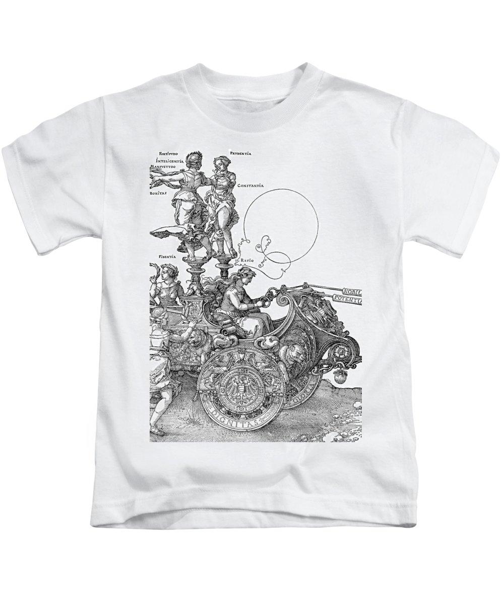 1518 Kids T-Shirt featuring the painting Durer Triumph Car, 1518 by Granger