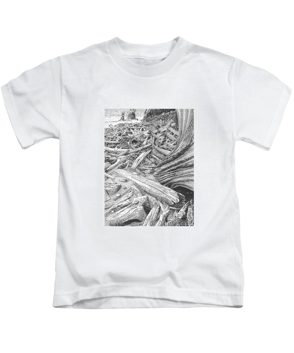 Find The Critter? Kids T-Shirt featuring the drawing Critter In The Driftwood by Jack Pumphrey