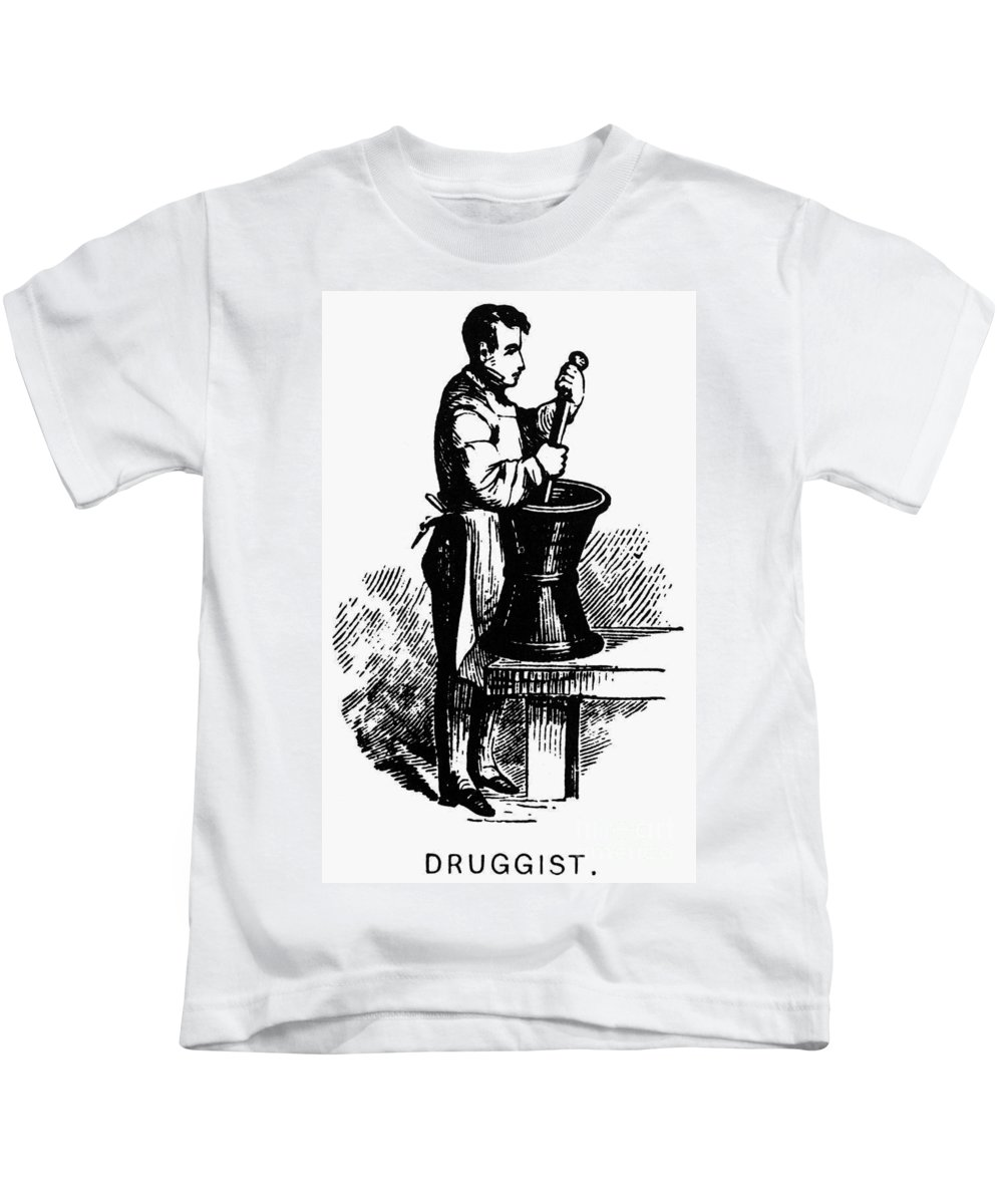 19th Century Kids T-Shirt featuring the photograph Druggist, 19th Century by Granger