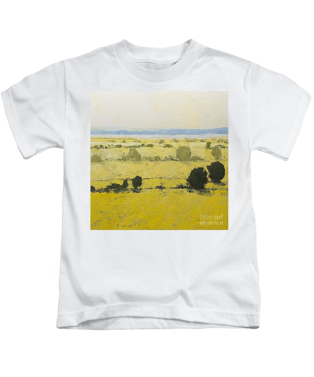 Landscape Kids T-Shirt featuring the painting Dry Grass by Allan P Friedlander