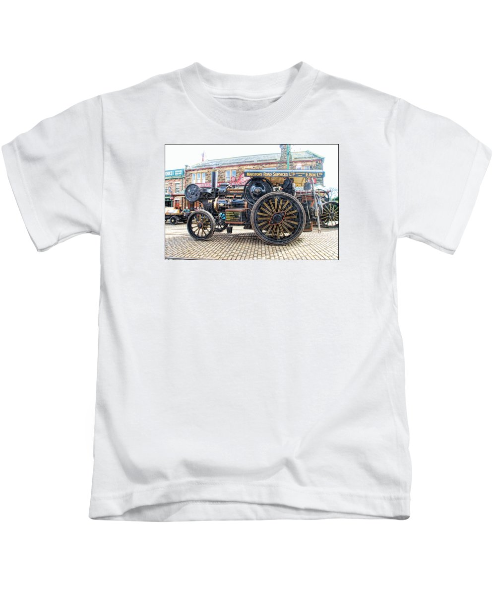 Beamish Kids T-Shirt featuring the digital art Duke Of York Traction Engine 6 by John Lynch