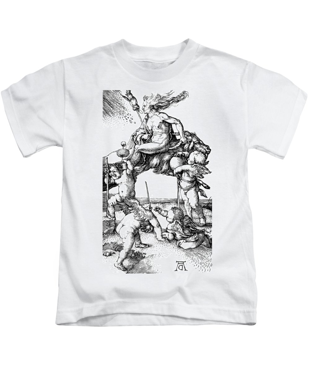 1500 Kids T-Shirt featuring the painting Durer Witch Riding Ram by Granger