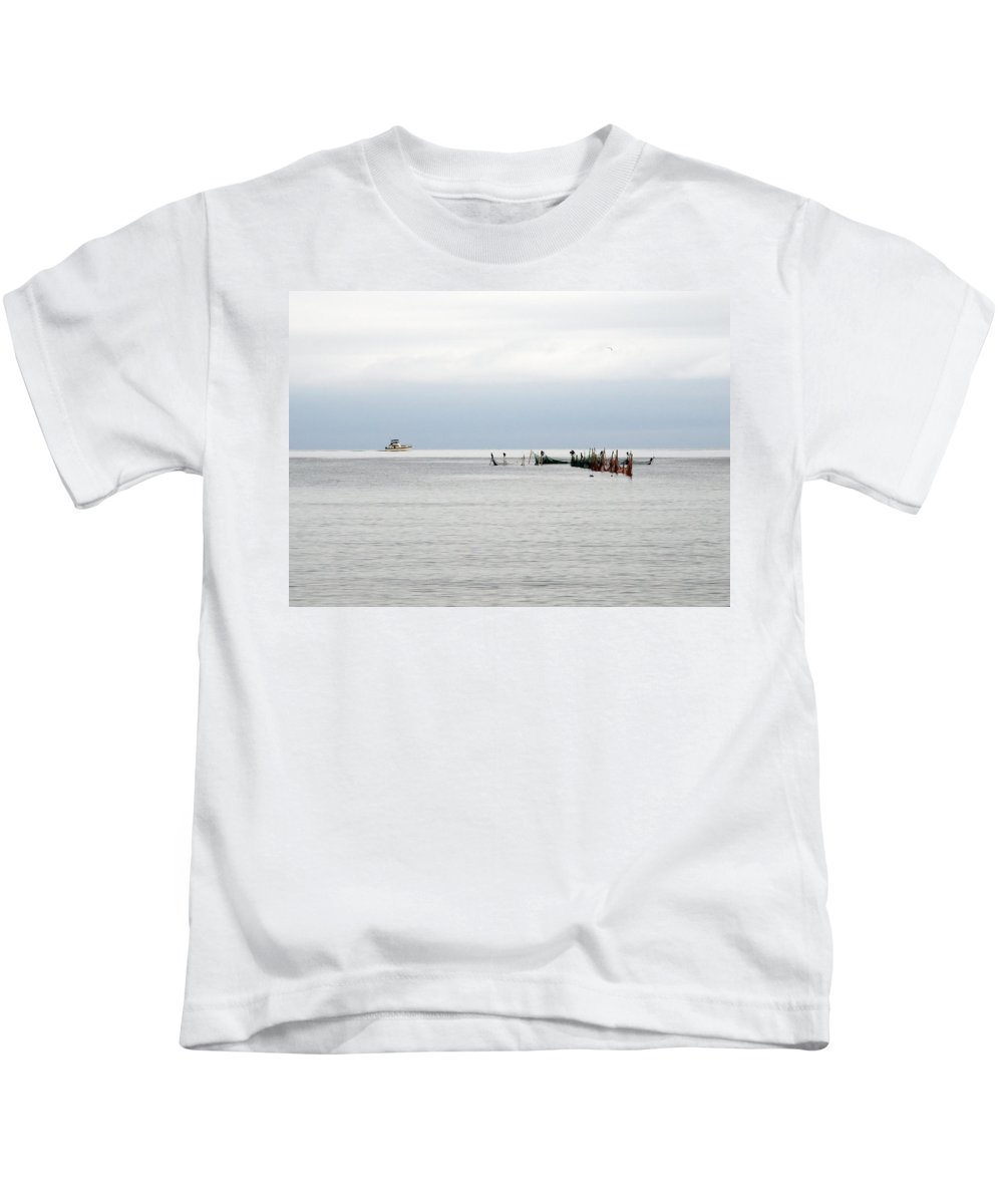 Fishing Vessel Kids T-Shirt featuring the photograph Early Birds by Keith Armstrong