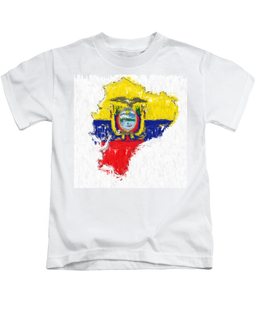 Ecuador Kids T-Shirt featuring the painting Ecuador Painted Flag Map by Antony McAulay