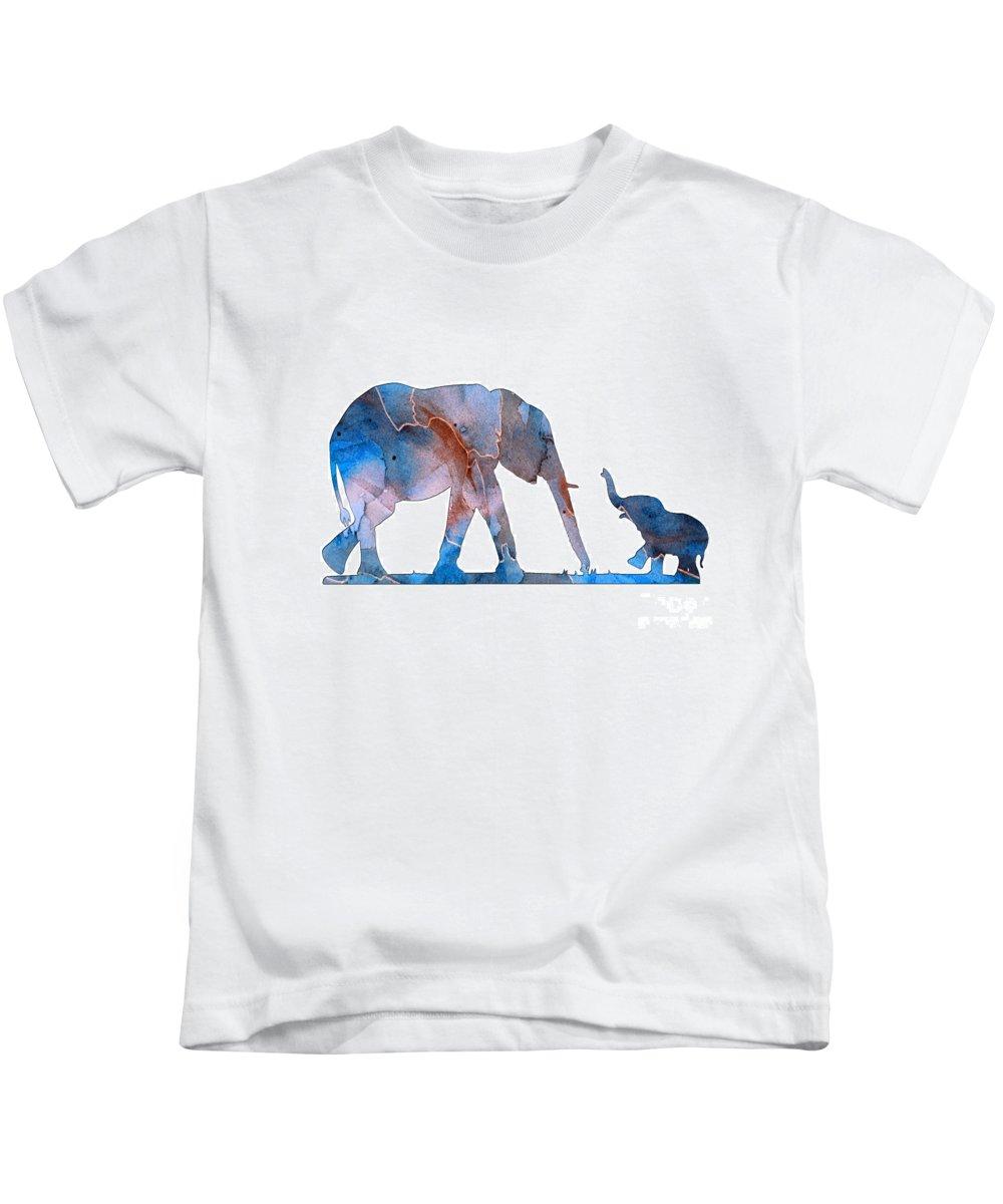 Elephant Kids T-Shirt featuring the digital art Elephant 01-3 by Voros Edit
