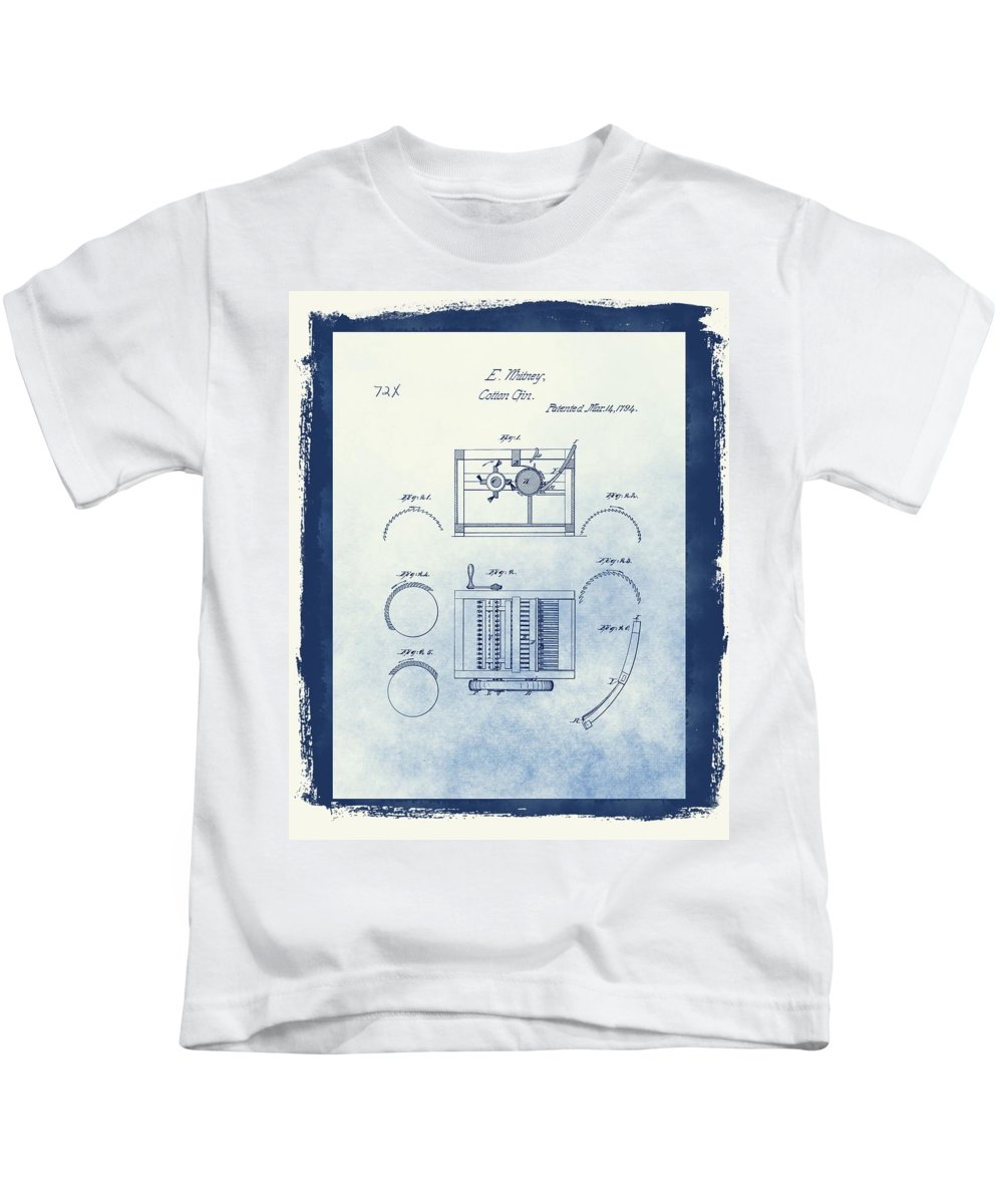 Eli Whitney Cotton Gin Patent Drawing Kids T-Shirt featuring the mixed media Eli Whitney's Cotton Gin Patent by Dan Sproul