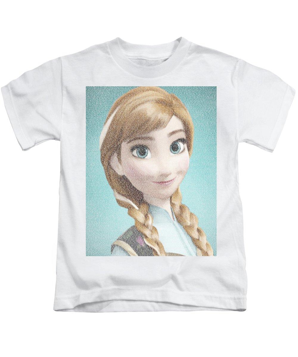 Frozen Kids T-Shirt featuring the digital art Anna Song Mosaic by Paul Van Scott